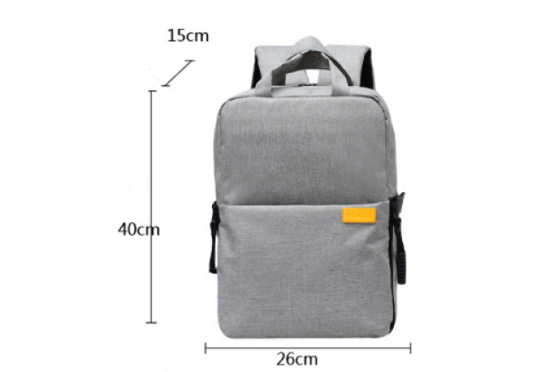 Рюкзак-сумка вместительный для Аксессуары для фотоаппарата Olympus XZ-1 в сером цвете с отделением для дополнительных аксессуаров