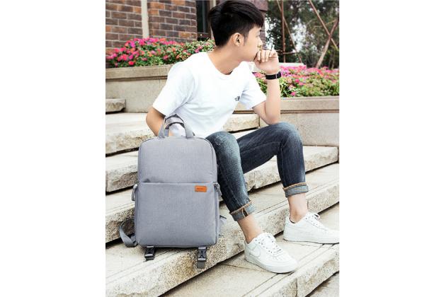 Рюкзак-сумка вместительный для Аксессуары для фотоаппарата Olympus E-450 в сером цвете с отделением для дополнительных аксессуаров