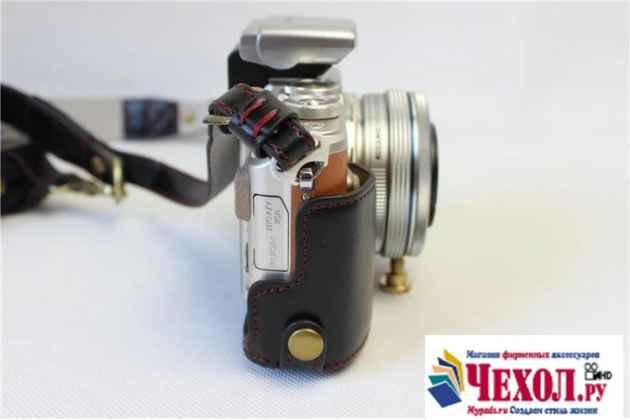 Сумка-кожух из качественной импортной кожи для фотоаппарата Olympus Pen E-PL7/Pen E-PL8 черного цвета