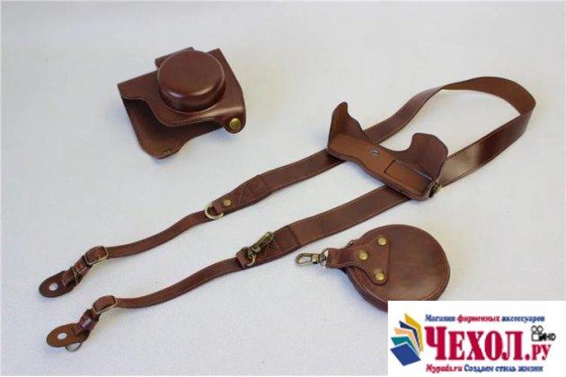 Сумка-кожух из качественной импортной кожи для фотоаппарата Olympus Pen E-PL7/Pen E-PL8 коричневого цвета