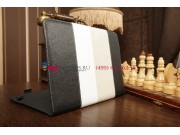 Чехол-обложка для Fujitsu STYLISTIC M532 черный с серой полосой кожаный..