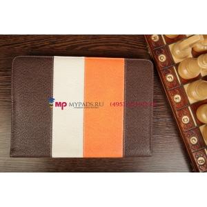 Чехол-обложка для Fujitsu STYLISTIC M532 коричневый с оранжевой полосой кожаный