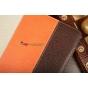 Чехол-обложка для Fujitsu STYLISTIC M532 коричневый с оранжевой полосой кожаный..