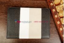 Чехол-обложка для GOTVIEW Smart 10 IPS Metal черный с серой полосой кожаный