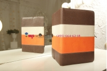 Чехол-обложка для GOTVIEW Smart 10 IPS Metal коричневый с оранжевой полосой кожаный