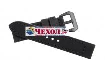 Фирменный сменный кожаный ремешок для умных смарт-часов Garmin Fenix 3/ Fenix 3 HR/HRM из качественной импортной кожи черный