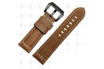 Фирменный сменный кожаный ремешок для умных смарт-часов Garmin Fenix 3/Fenix 3 HR/HRM из качественной импортной кожи коричневый