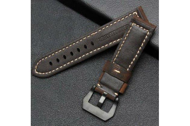 Фирменный сменный кожаный ремешок для умных смарт-часов Garmin Fenix/ Fenix 1/Tactix/Quatix из качественной импортной кожи коричневый