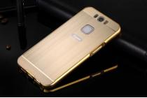 """Фирменная металлическая задняя панель-крышка-накладка из тончайшего облегченного авиационного алюминия для Gigaset ME Pro 5.5"""" (GS57-6)  золотая"""