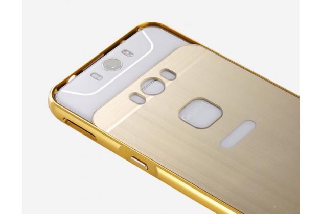 """Фирменная металлическая задняя панель-крышка-накладка из тончайшего облегченного авиационного алюминия для Gigaset ME / ME Pure 5.0"""" (GS55-6)  золотая"""