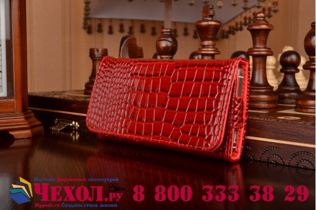 Фирменный роскошный эксклюзивный чехол-клатч/портмоне/сумочка/кошелек из лаковой кожи крокодила для телефона Ginzzu RS95D. Только в нашем магазине. Количество ограничено
