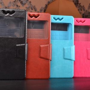 Чехол-книжка для Zopo ZP300+ кожаный с окошком для вызовов и внутренним защитным силиконовым бампером. цвет в ассортименте
