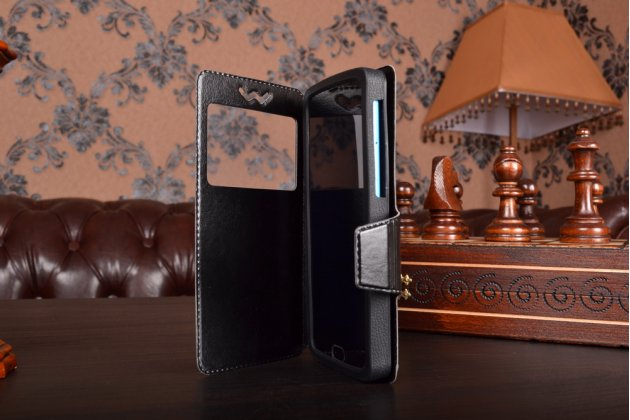 Чехол-книжка для Highscreen Power Five кожаный с окошком для вызовов и внутренним защитным силиконовым бампером. цвет в ассортименте