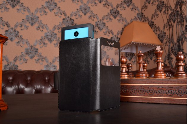 Чехол-книжка для Fly FS401 Stratus 1 кожаный с окошком для вызовов и внутренним защитным силиконовым бампером. цвет в ассортименте