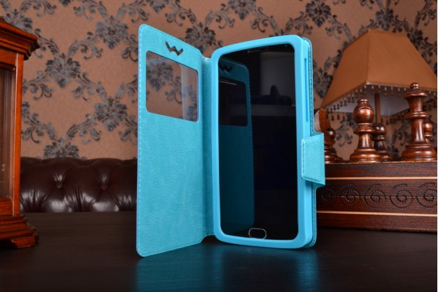 Чехол-книжка для Alcatel Pop 4 XL кожаный с окошком для вызовов и внутренним защитным силиконовым бампером. цвет в ассортименте