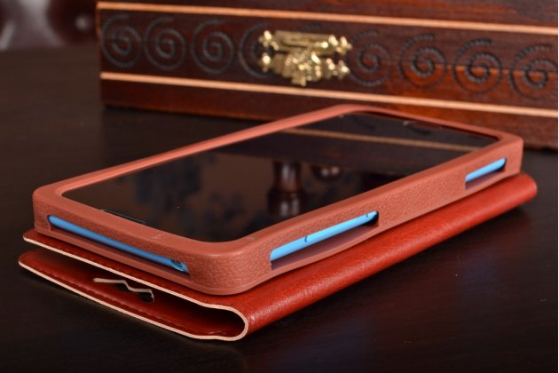 Чехол-книжка для HTC One E8 кожаный с окошком для вызовов и внутренним защитным силиконовым бампером. цвет в ассортименте