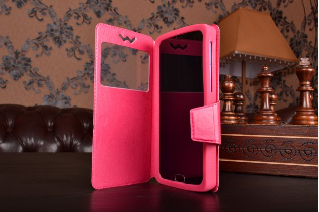 Чехол-книжка для Huawei Ascend G6 кожаный с окошком для вызовов и внутренним защитным силиконовым бампером. цвет в ассортименте