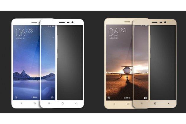 Фирменное защитное противоударное стекло которое полностью закрывает экран из качественного японского материала с олеофобным покрытием для телефона Xiaomi Redmi Note 3/ 3 Pro с защитой сенсорных кнопок и камеры