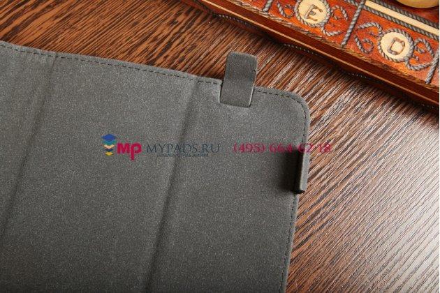 Чехол-обложка для Gmini MagicPad H807S коричневый с оранжевой полосой кожаный