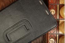 """Фирменный чехол-обложка для Asus Google Nexus 7 II 2013 с визитницей и держателем для руки черный кожаный """"Prestige"""" Италия"""