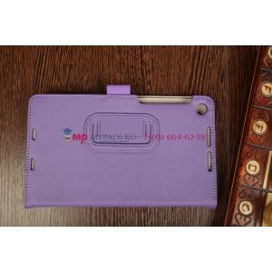 """Фирменный чехол-обложка для Asus Nexus 7 II 2 поколения 2013 с визитницей и держателем для руки фиолетовый натуральная кожа """"Prestige"""" Италия"""