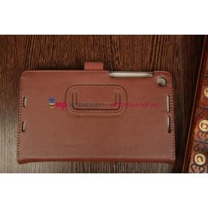"""Фирменный чехол-обложка для Asus Nexus 7 II 2 поколения 2013 с визитницей и держателем для руки коричневый натуральная кожа """"Prestige"""" Италия"""
