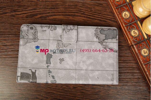 """Фирменный чехол для Asus Google Nexus 7 II 2 поколения 2013 model K008 """"тематика карта мира"""" кожаный серый"""
