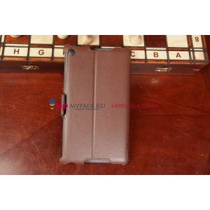 """Чехол открытого типа без рамки вокруг экрана с мульти-подставкой для Asus Nexus 7 2013 коричневый кожаный """"Deluxe"""""""