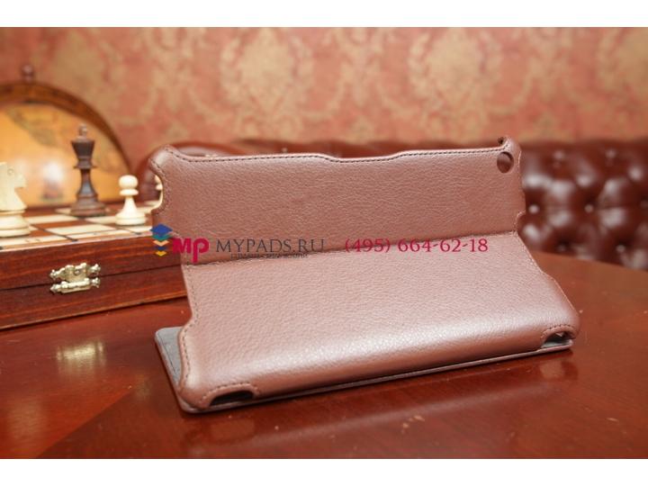 Чехол открытого типа без рамки вокруг экрана с мульти-подставкой для Asus Nexus 7 2013 коричневый кожаный