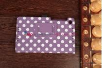 Фирменный чехол-книжка для Asus Google Nexus 7 2013 фиолетово-белый далматинец