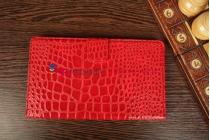 Фирменный чехол-обложка для Asus Google Nexus 7 II 2 поколения 2013 лаковая кожа крокодила алый огненный красный