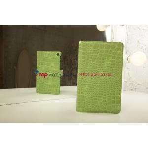 Фирменный чехол-обложка для Asus Google Nexus 7 II 2 поколения 2013 кожа крокодила зеленый