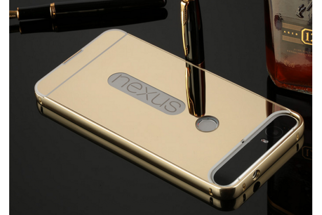 Фирменная металлическая задняя панель-крышка-накладка из тончайшего облегченного авиационного алюминия для Huawei Google Nexus 6P золотая