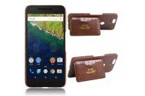 Фирменная роскошная элитная премиальная задняя панель-крышка для Huawei Google Nexus 6P под кожу крокодила с визитницей коричневый
