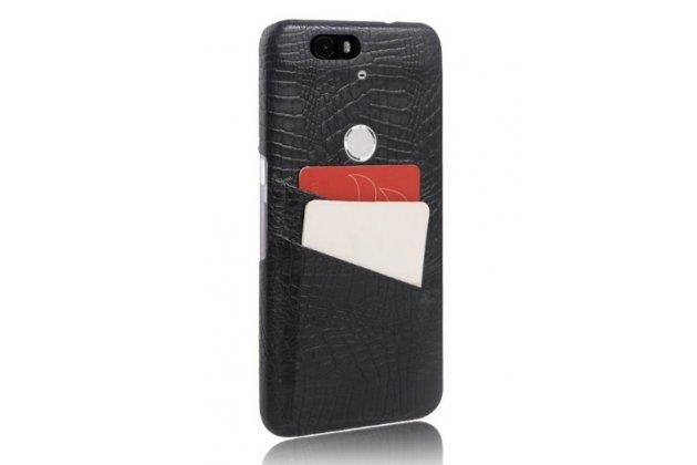 Фирменная роскошная элитная премиальная задняя панель-крышка для Huawei Google Nexus 6P из качественной кожи буйвола с визитницей черный