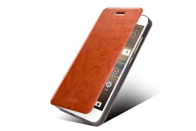 Фирменный чехол-книжка из качественной водоотталкивающей импортной кожи на жёсткой металлической основе для  Huawei Google Nexus 6P коричневый