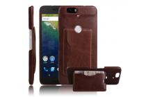 Фирменная роскошная элитная премиальная задняя панель-крышка для Huawei Google Nexus 6P из качественной кожи буйвола с визитницей коричневый