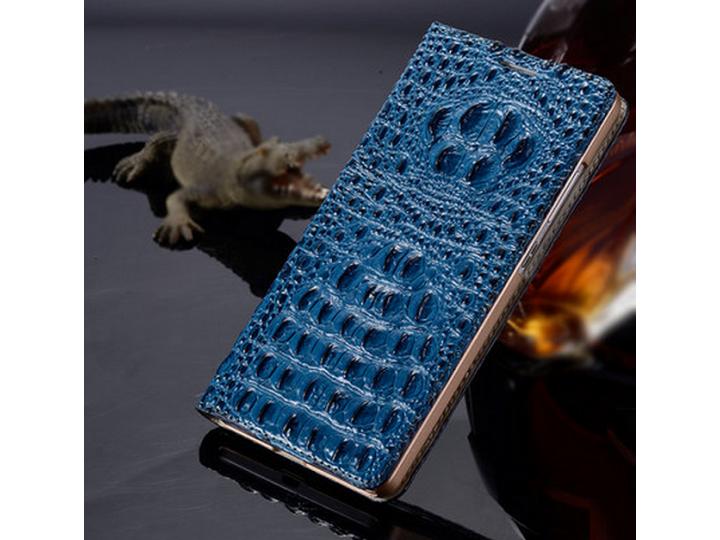 Фирменный роскошный эксклюзивный чехол с объёмным 3D изображением рельефа кожи крокодила синий для Huawei Goog..