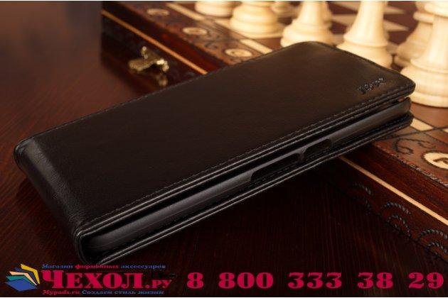 """Фирменный оригинальный вертикальный откидной чехол-флип для Huawei Google Nexus 6P черный из натуральной кожи """"Prestige"""" Италия"""