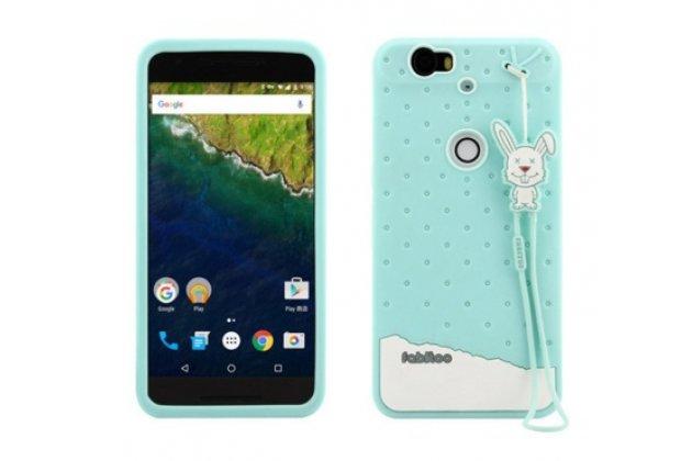 """Фирменная необычная уникальная полимерная мягкая задняя панель-чехол-накладка для Huawei Google Nexus 6P """"тематика Андроид в Мятном  Шоколаде"""""""