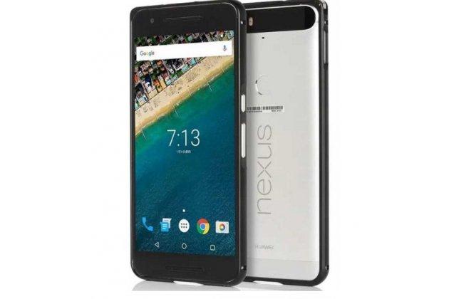 Фирменный оригинальный ультра-тонкий чехол-бампер для  Huawei Google Nexus 6P черный  металлический