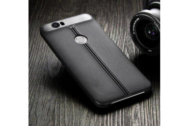 Задняя панель-крышка из тончайшего и прочного пластика обтянутая импортной кожей задняя панель-чехол-накладка для Huawei Google Nexus 6P черная