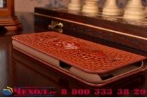 Фирменный роскошный эксклюзивный чехол с объёмным 3D изображением кожи крокодила коричневый для LG Nexus 5 (D821). Только в нашем магазине. Количество ограничено