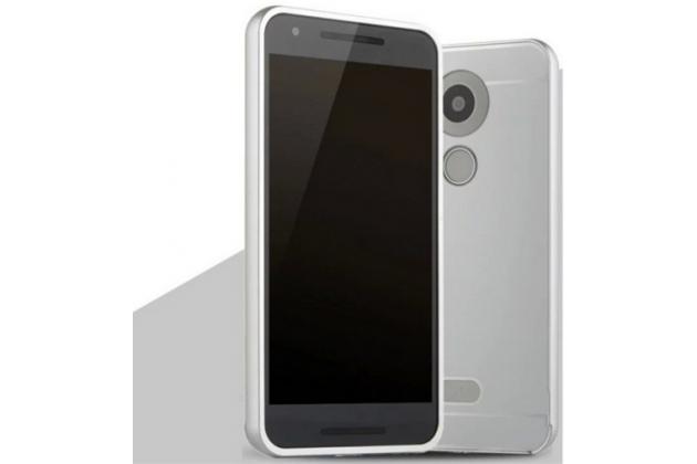 """Фирменная металлическая задняя панель-крышка-накладка из тончайшего облегченного авиационного алюминия для LG Google Nexus 5X 5.2"""" серебренная"""