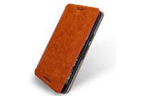 """Фирменный чехол-книжка из качественной водоотталкивающей импортной кожи на жёсткой металлической основе для LG Google Nexus 5X 5.2"""" коричневый"""