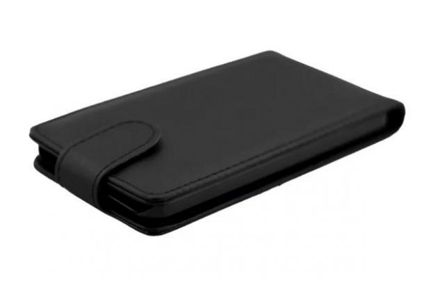 """Фирменный оригинальный вертикальный откидной чехол-флип для LG Google Nexus 5X  черный из натуральной кожи """"Prestige"""" Италия"""