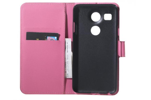 """Фирменный уникальный необычный чехол-книжка для LG Google Nexus 5X 5.2"""" """"тематика цветок Сакуры"""""""