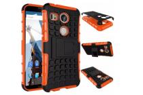 Противоударный усиленный ударопрочный фирменный чехол-бампер-пенал для LG Google Nexus 5X оранжевый
