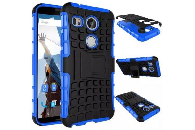Противоударный усиленный ударопрочный фирменный чехол-бампер-пенал для LG Google Nexus 5X синий
