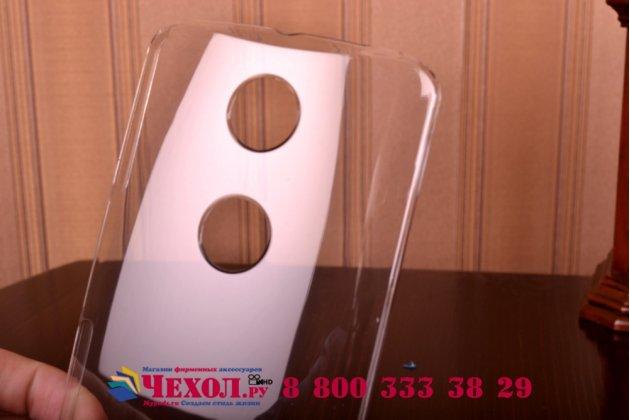 Фирменная задняя панель-крышка-накладка из тончайшего и прочного пластика для Motorola Nexus 6 прозрачная